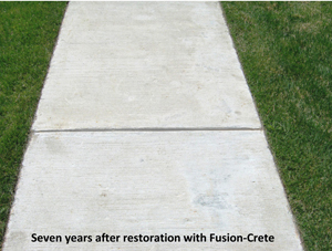 Sidewalk looks good seven years after application of Fusion-Crete concrete resurfacing product.
