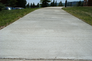 Sidewalk after application of Fusion-Crete concrete resurfacing product.
