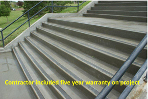 Fusion-Crete is the concrete repair product that can effectively repair damaged concrete stairs.