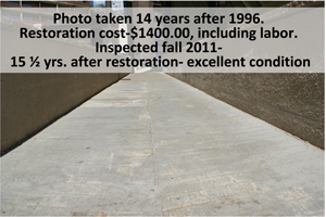 Example of durability and effectiveness of Fusion-Crete to fix pedestrian walkways